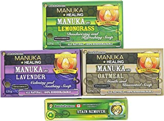 BunchaFarmers All Natural 100% Biodegradable Manuka Honey Infused Soap Scent Variety Pack w/ Additional Stain Stick (4 Piece Bundle) (Made in Canada)