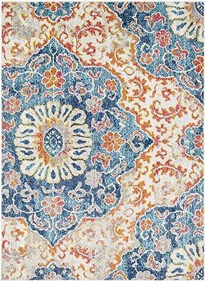 "Artistic Weavers Angeles Blue and Burnt Orange Transitional 2'7"" x 7'6"" Area Rug"