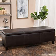 Christopher Knight Home Living Deal Furniture | Skyler Faux Leather Storage Ottoman Bench | in Brown