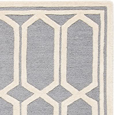 Safavieh Olivia Textured Area Rug Hand Tufted Wool Carpet In Silver Ivory 182 X 274 Cm Amazon Co Uk Kitchen Home