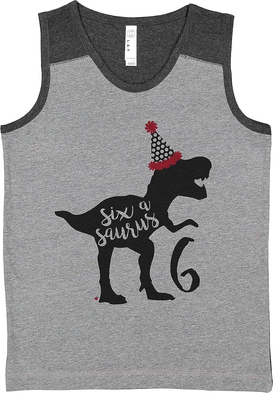 7 ate 9 Apparel Kids Six asaurus 6th Dinosaur Dino Birthday Grey Contrast Tank Top