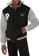 The Polar Club Mens' Fleece Varsity Baseball Jacket Black & Grey 2-Tone with Removable Hood