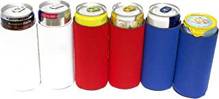 Knot Board Sports Slim Ultra Cans Beverage Insulators, Blue Coolie Fits Michelob Ultra, Tall Co oz.ie Set Of 6, Can Neoprene Sleeves, Beverage Coolers, Pack Of Six. Blank, Red, White, And Blue.