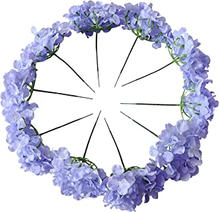 Kislohum Lilac Artificial Hydrangea Flowers Heads for Wedding Bouquet DIY Floral Decor Home Garden Party Decorations,Pack of 10 with Stems - Lilac
