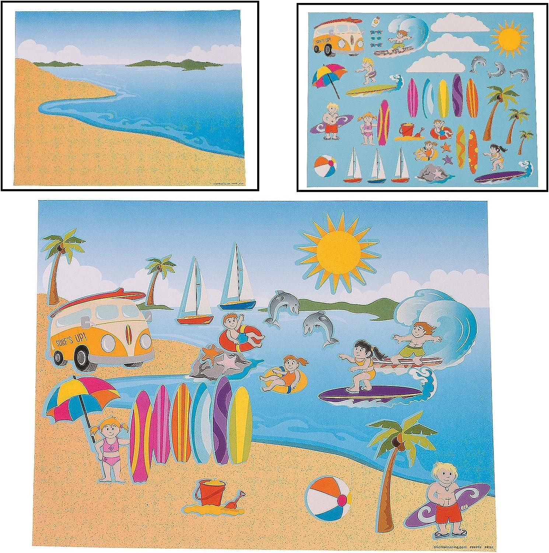 DIY Large Surfing Sticker Scenes (Makes 12) Paper. 28cm x 22cm