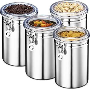 Stainless Steel Canister Set - Airtight Food Storage Canisters for Kitchen Counters, Tea, Sugar, Flour, Coffee Sealable Jars with Locking Clamp - Set of 4