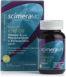 Scimera Bioscience SCIKRILL Natural Antarctic Krill Oil Pills Bioactive Omega-3 Phospholipids,60 Capsules