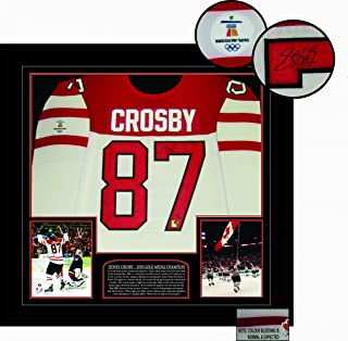 Signed Sidney Crosby Jersey - Deluxe Framed Game Model Team Canada White 2010 Olympics - Autographed NHL Jerseys