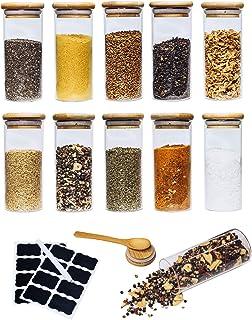 ARTEMS Lot de 10 bocaux de conservation pour le thé et les épices avec couvercle en bois – Pots à épices pour l'organisati...