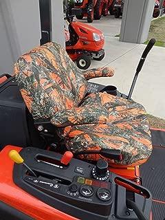 Durafit Seat Covers, KU03 MC2 Orange EXACT FIT SEAT COVER FOR KUBOTA MOWERS. KU03 ZD221/ZG222/ZG227 in Orange Camo Endura