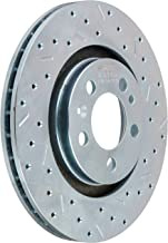 SSBC 33607AA3R Drilled Slotted Plated Front Passenger Side Rotor for 1999-05 Golf 4 Cylinder