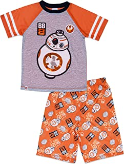 Star Wars Boys 2 Piece Pajama Set,Short Sleeve, BB-8, Orange Grey