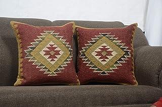 Chouhan Rugs Juego de 2 fundas de cojín indias Kilim de 18 x 18 fundas de almohada bohemias étnicas de yute