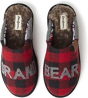 Dearfoams unisex-adult Grand Bear Buffalo Plaid Scuff