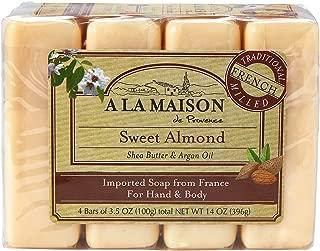 A La Maison Soap Bars, Sweet Almond, Value Pack 3.5 oz, 4 Count