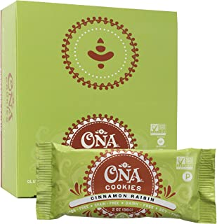 Paleo Cookies, Cinnamon Raisin by Ona, Gluten Free, SCD Approved, Dairy Free, Honey Sweetened Healthy Treats (12 Pack)