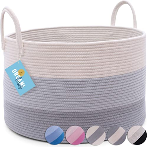 "OrganiHaus XXL Cotton Rope Basket | Wide 20"" x 13.3"" Blanket Storage Basket with Long Handles | Decorative Clothes Ha..."