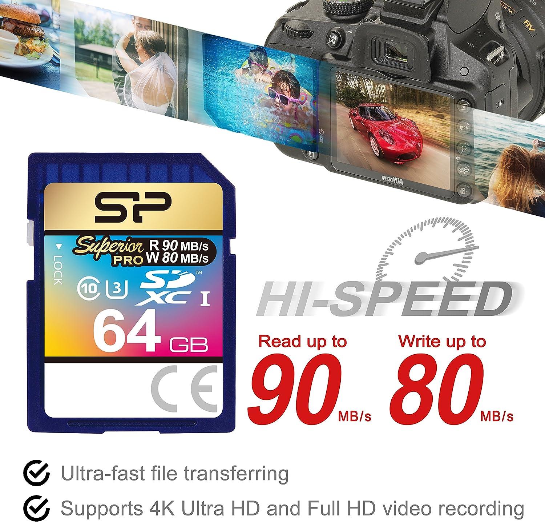 SP Silicon Power 64GB SDXC UHS-I Memory Card, Elite Series