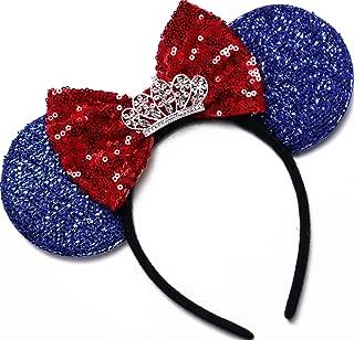 Snow White Tiara Minnie Ears, Snow White Ears,Blue Yellow Minnie Ears, Princess Mickey Ears, Blue Minnie Mouse Ears