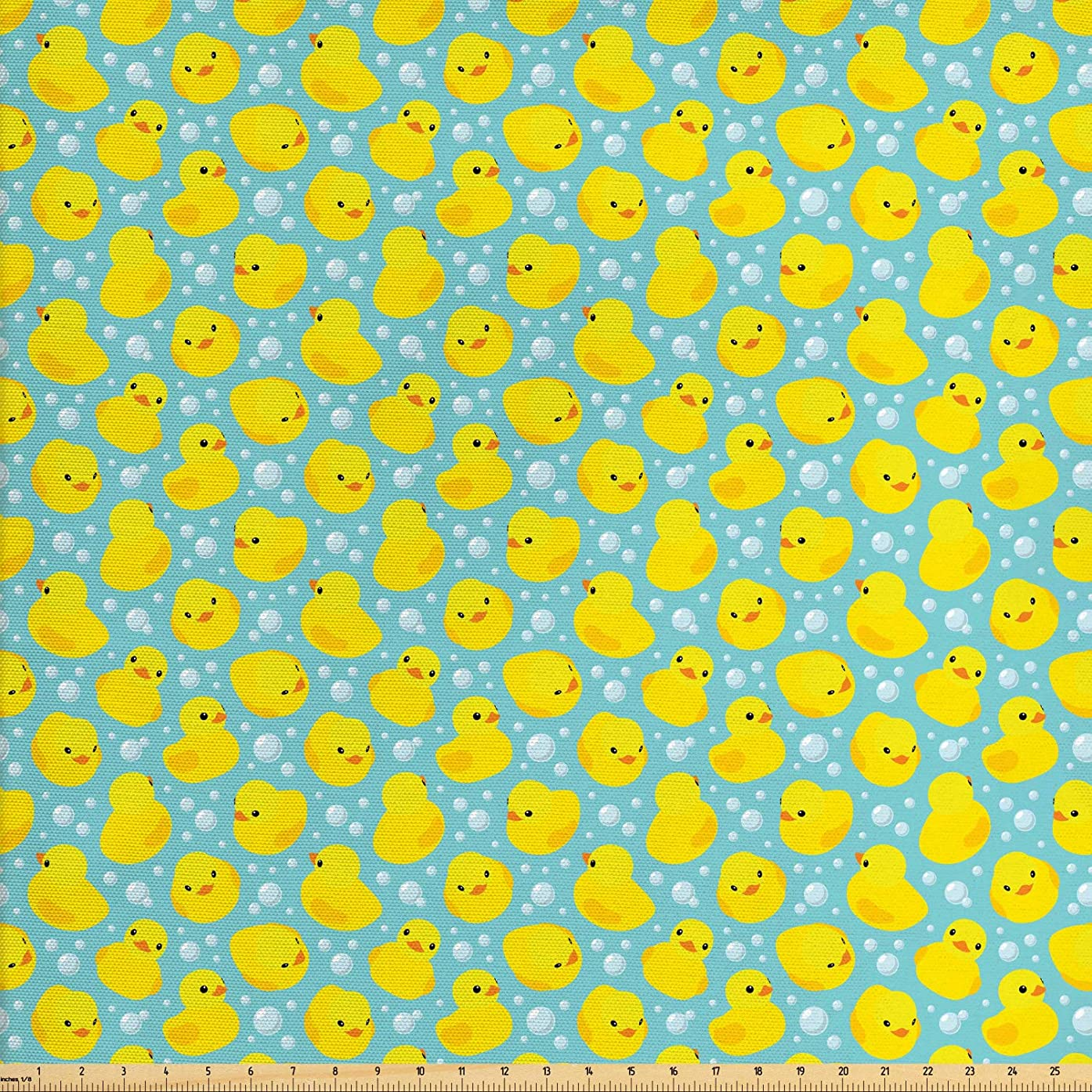 Lunarable Nursery Fabric by The Yard, Cute Happy Rubber Duck and Bubbles Cartoon Pattern Childhood Kids Theme Art, Decorative Fabric for Upholstery and Home Accents, 1 Yard, Aqua and Yellow