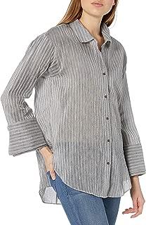 HALSTON HERITAGE Women's Long Sleeve Wide Cuff Stripe Shirt