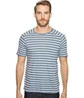 John Varvatos Star U.S.A. - Striped Short Sleeve Saddle Shoulder Knit Crew Neck with Vertical Pickstitch Details K2945T1B