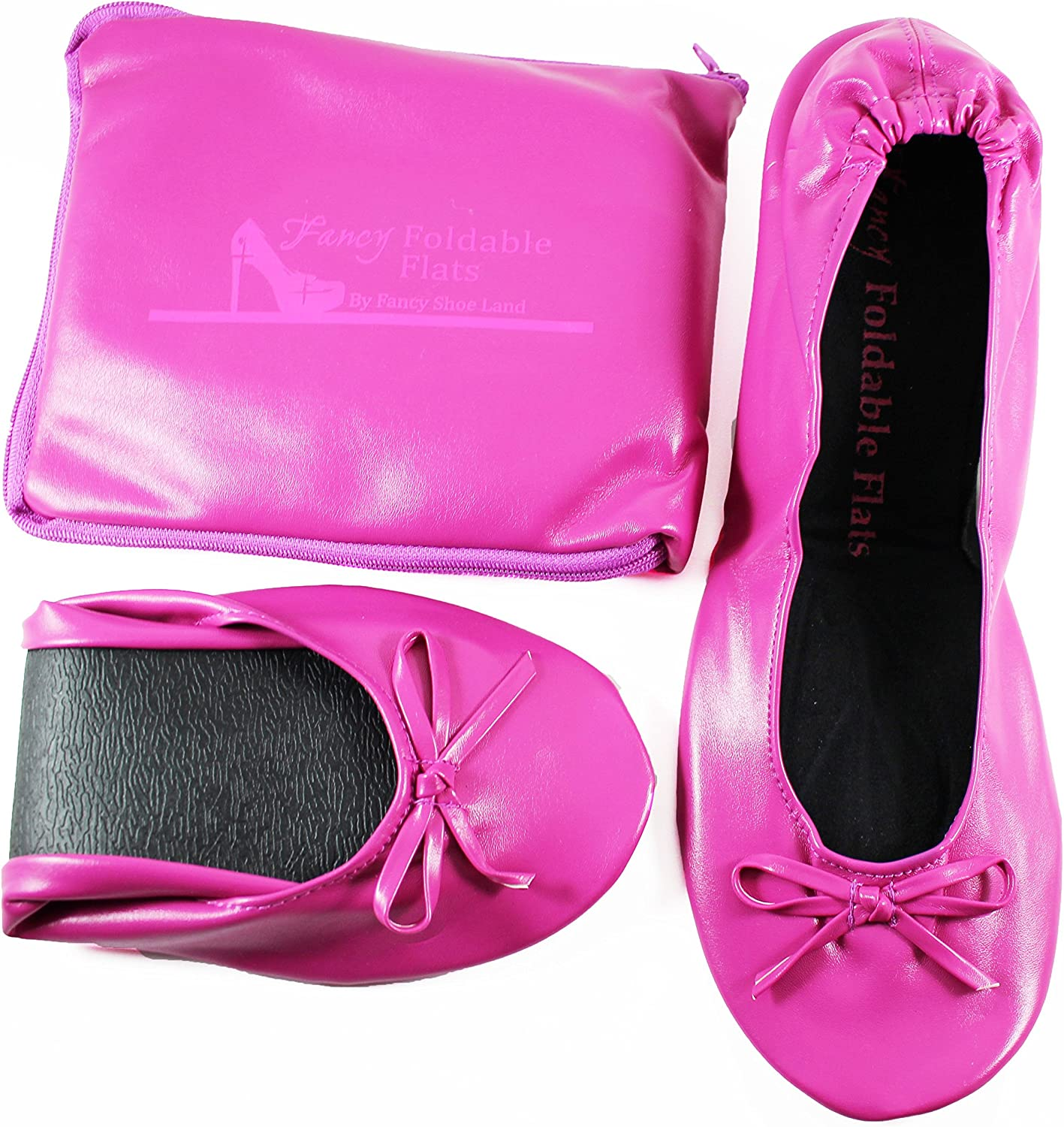 Foldable Flats shoes with Expandable Tote Bag for High Heels Folding Pink Womens shoes
