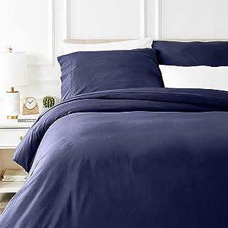 Amazon Basics Parure de lit avec housse de couette en flanelle 240 x 220 cm/65 x 65 cm x 2, Bleu marine