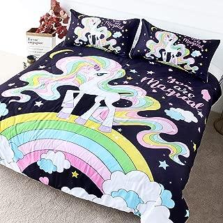 BlessLiving Magical Unicorn Bedding Kids Girl Rainbow Duvet Cover Set Pink Yellow Stars College Dorm Pony Doona Covers (Twin)