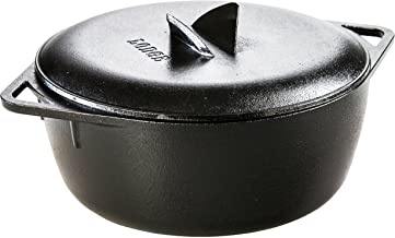 Lodge Dishwasher Safe Seasoned Cast Iron Dutch Oven - 6 Quart Rust Resistant Cast Iron Camping Stove Pot with Lid (Made in USA)