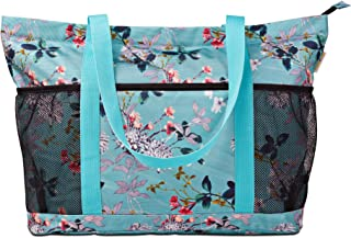 Large Foldable Beach Bag with Zipper - XL Foldable Tote Bag for Travel and Shopping - Large Tote Bag with Many Pockets (Turquoise Flowers)