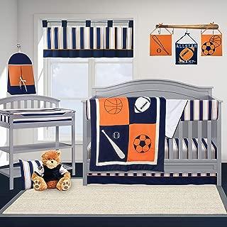 Pam Grace Creations 6 Pc Crib Bedding Set, Sports, Navy Blue/Orange/White