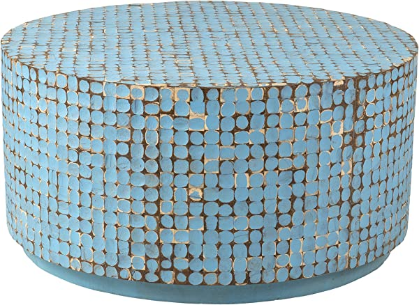 East At Main Cummings Coconut Shell Inlay Round Coffee Table Blue 31x31x16