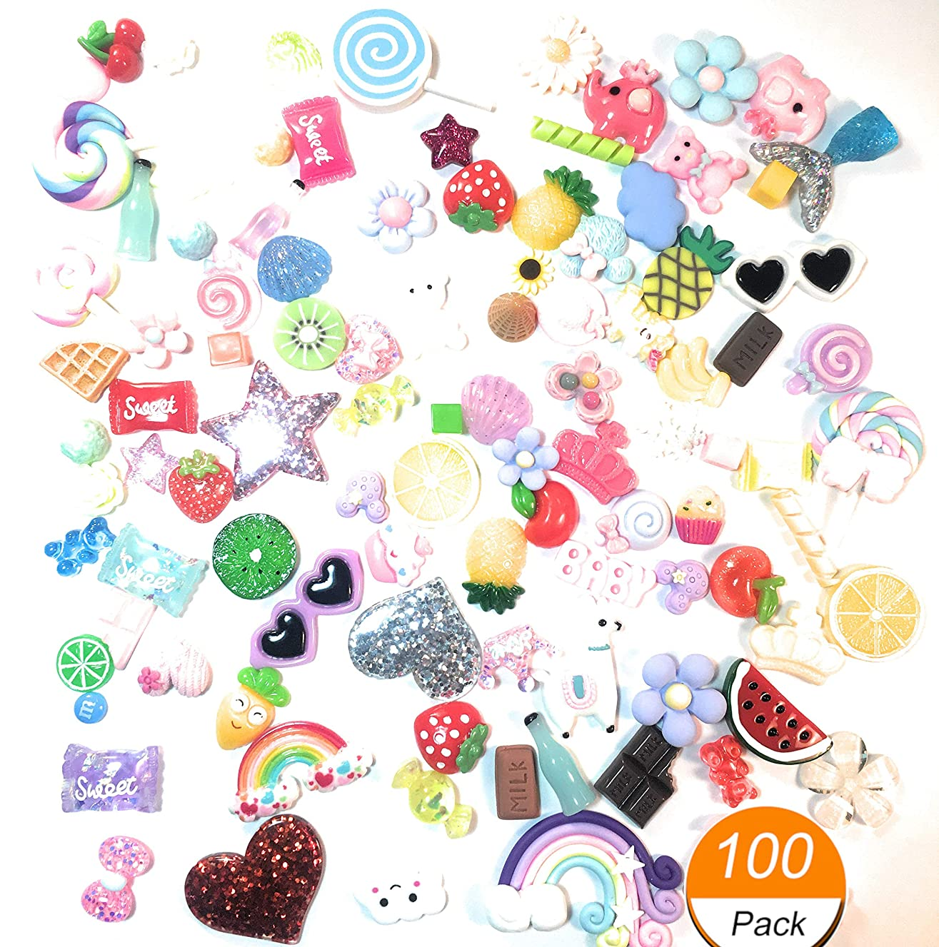 Super Cute Slime Charms - 100 Pieces - Mixed Flat Resin for Scrap-Booking and Crafts - Assorted Colors, Shapes and Sizes