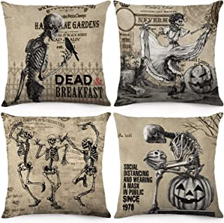 CDWERD Vintage Halloween Pillow Covers 18x18 Inch Set of 4 Skull Throw Pillowcase Halloween Decor Linen Cushion Case for C...