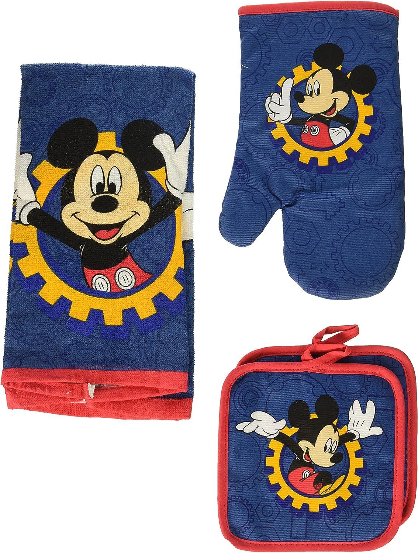 Portland Mall Disney Mickey Mouse Blue Gear 4-pc Oven Mitt Kitchen Set: Reservation Towel