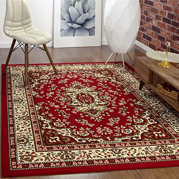 Antep Rugs Kashan King Collection HIMALAYAS Oriental Area Rug Maroon And Beige Maroon And Beige 8 X 10