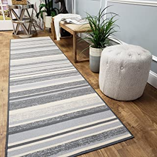 Runner Rug 2x5 Gray Stripes Kitchen Rugs and mats | Rubber Backed Non Skid Rug Living Room Bathroom Nursery Home Decor Under Door Entryway Floor Non Slip Washable | Made in Europe