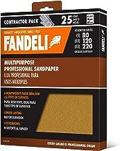 "Fandeli Assorted Grits (80,120,220), sandpaper sheets, multipurpose for furniture, wood, metal, ""9x11"", 25 sheet pack"
