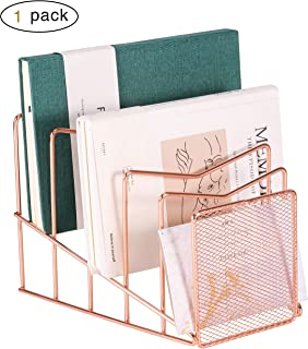 Z PLINRISE Incline File Sorter, Wire Magazine Holder Rack for Mails, Folders and Books, Desk Paper Storage Organizer for Home and Office, 5 Sections, Rose Gold