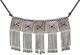 Sansar India Boho Oxidized Square Tassels Choker Necklace for Women