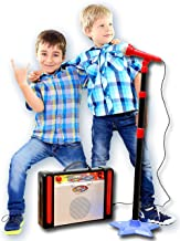 IQ Toys Kids Karaoke Machine Microphone Stand and Speaker with Adjustable Mic Stand and..