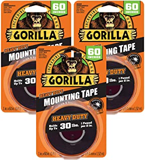 "Gorilla Heavy Duty Double Sided Mounting Tape, 1"" x 60"", Black 3 Pack 6055026 3"