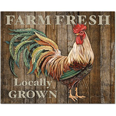 Amazon Com Counterart 15 By 12 Inch Glass Cutting Board Farm Fresh Rooster Kitchen Dining