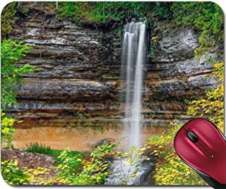 Liili Mousepad Image ID 33531777 Autumn Leaves Surround The Beautiful Munising Falls a Waterfall in Upper Peninsula Michigan