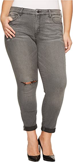 Plus Size Girlfriend Jeans with Knee Slit in Future Fit Denim in Alchemy