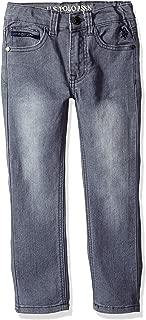 U.S. POLO ASSN. Toddler Boys' Straight Leg Jean, Rip Repair Medium Grey Wash, 4T