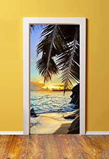 Windowpix DoorPix 36x80 / 36 x 80 3D Door Mural Wrap Glossy Bubble Free Sticker Tropical Island Sunset - Peel and Stick - Easy-to-Clean, Durable