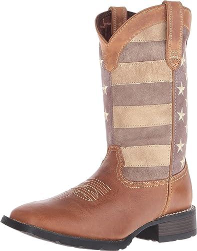 Durango Men's 12'' Mustang Union Flag Casual bottes, marron Leather, 12 M