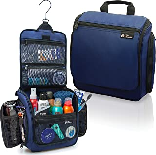 Hanging Travel Toiletry Bag for Men and Women – Large Cosmetics, Makeup and Toiletries Organizer Kit with 19 Compartments, YKK Zippers, XXL Metal Swivel Hook, Water-Resistant Nylon